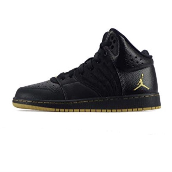 7713e2e3bc96a7 Nike Air Jordan 1 Flight 4 black gold high tops 23.  M 5bfb0dd5aa87707a69dcccd6